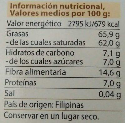Noix De Coco Rapée Bio - 300G - Dr Goerg - Informations nutritionnelles