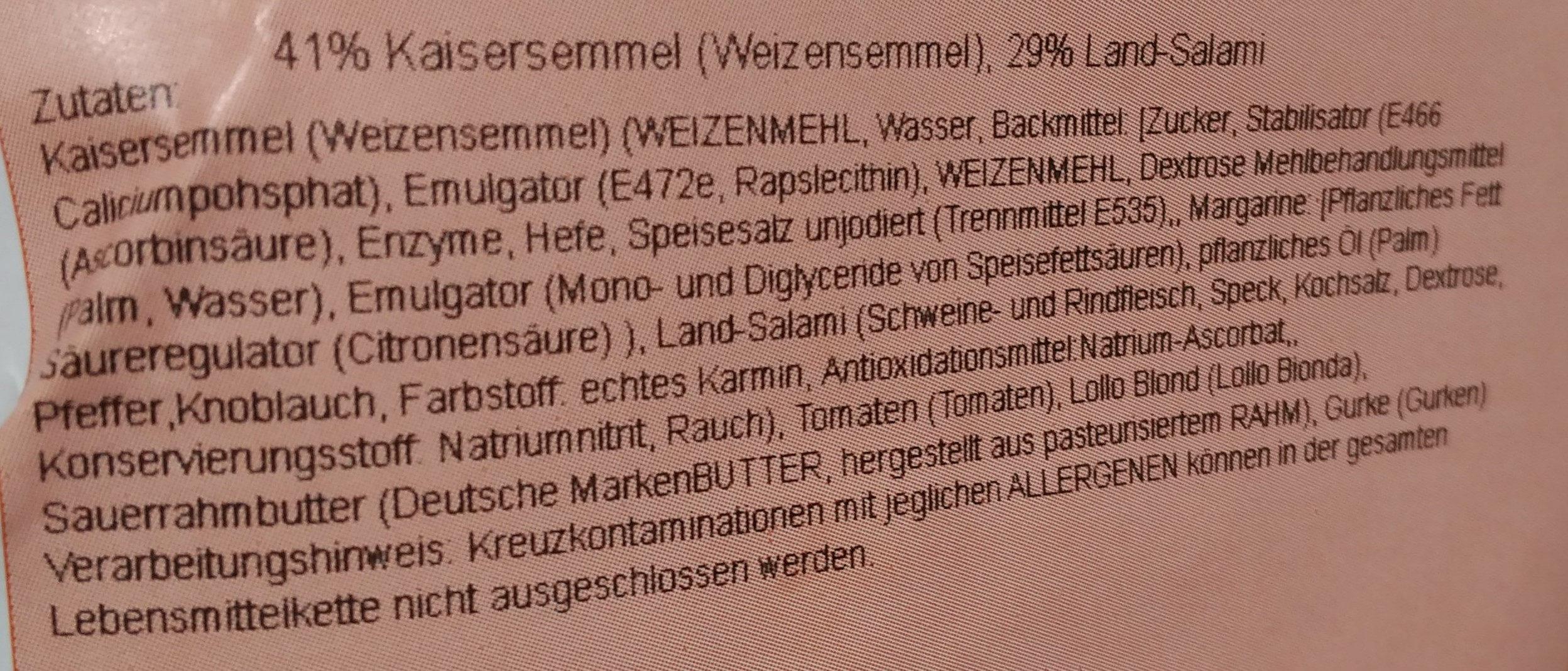 Kaisersemmel Salami - Inhaltsstoffe