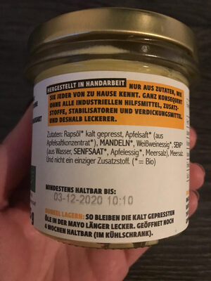 Emils Feinkost Vegane Mayo,125 GR Glas - Ingrediënten - de