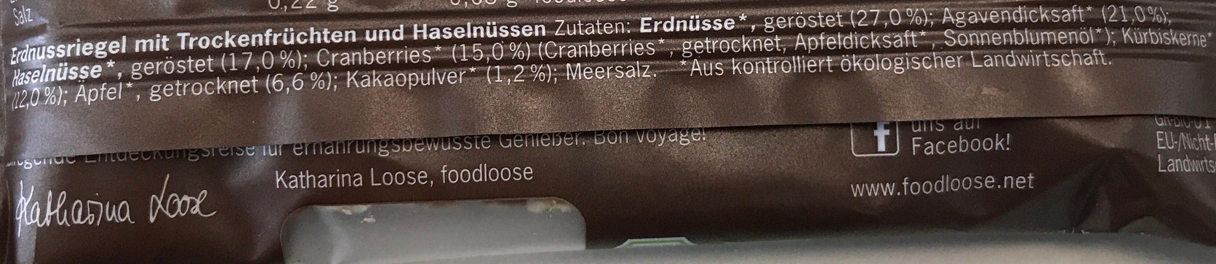 Frisco Crisp Bio-Nussriegel - Ingrédients - fr