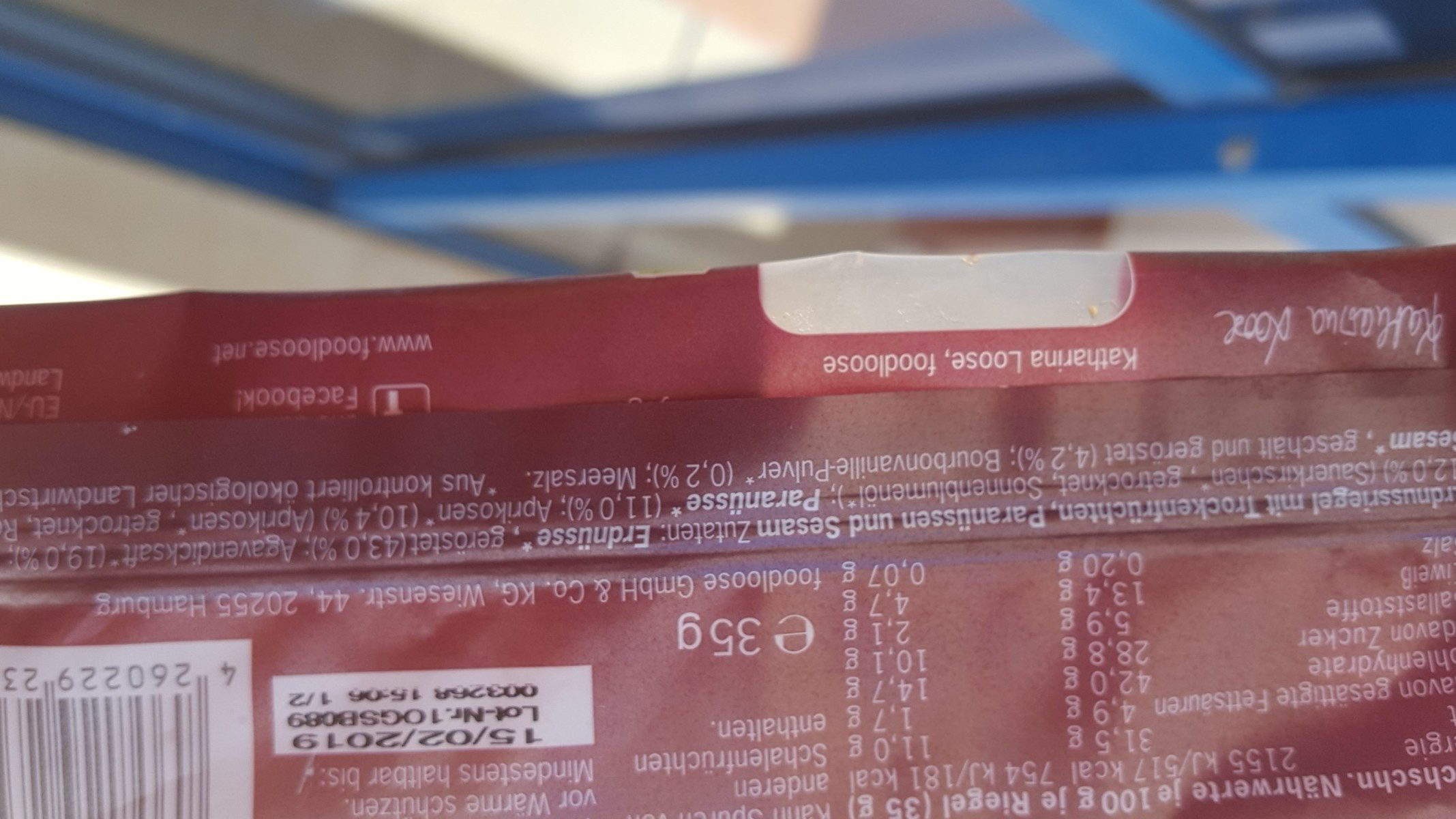 Foodloose Nussriegel Garden Gusto, 35 GR Stück - Ingrediënten - de