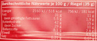 Garden Gusto Bio-Nussriegel - Informations nutritionnelles - de