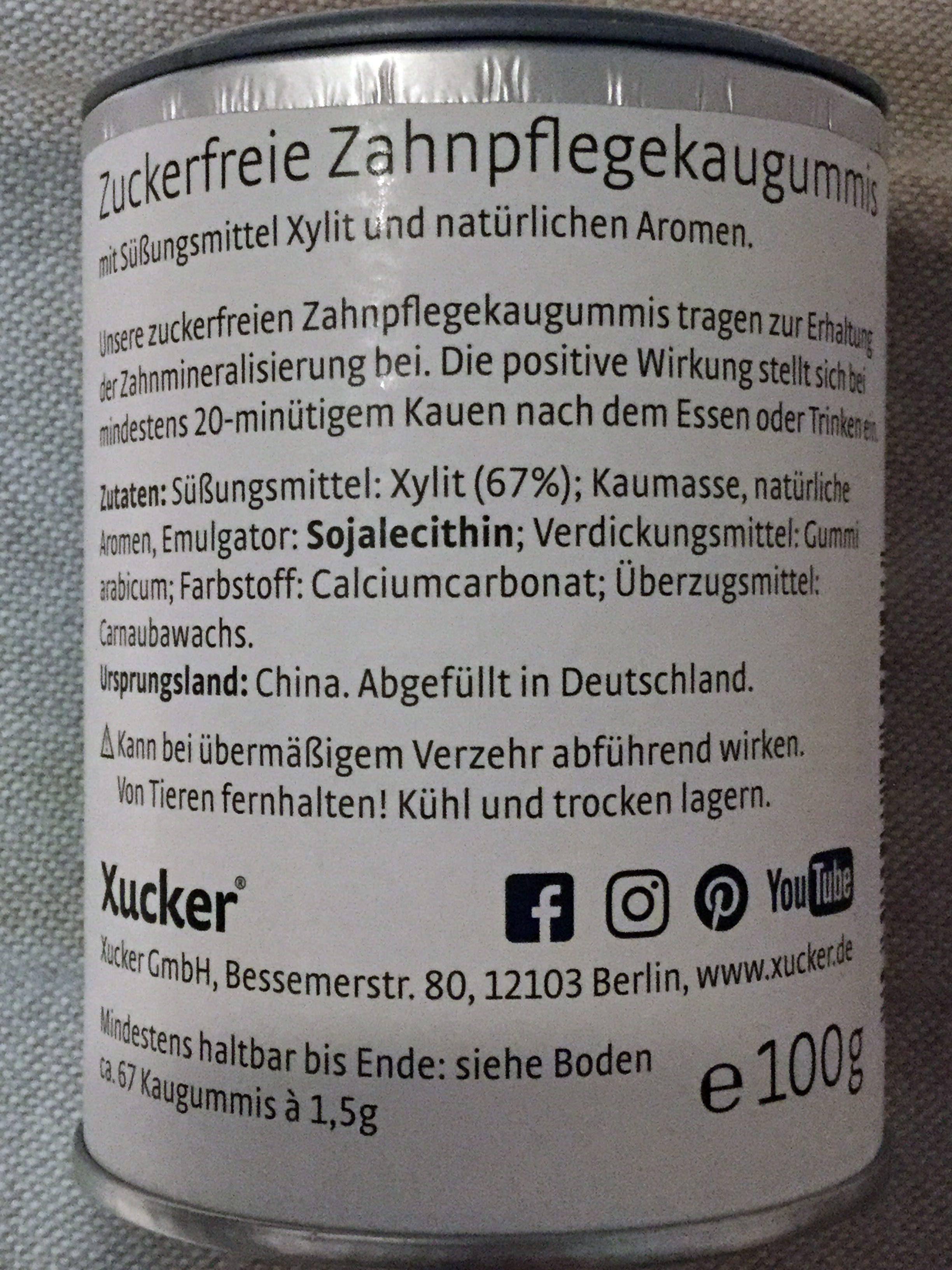 Xucker Xummi Spearmint Zuckerfrei - Zutaten - de