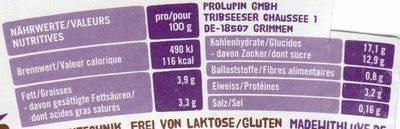 Lupinen Dessert Schokolade - Nährwertangaben