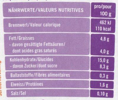 Lupinen Joghurt-Alternative Mango, Fermentiert mit Veganen Joghurtkulturen - Nährwertangaben