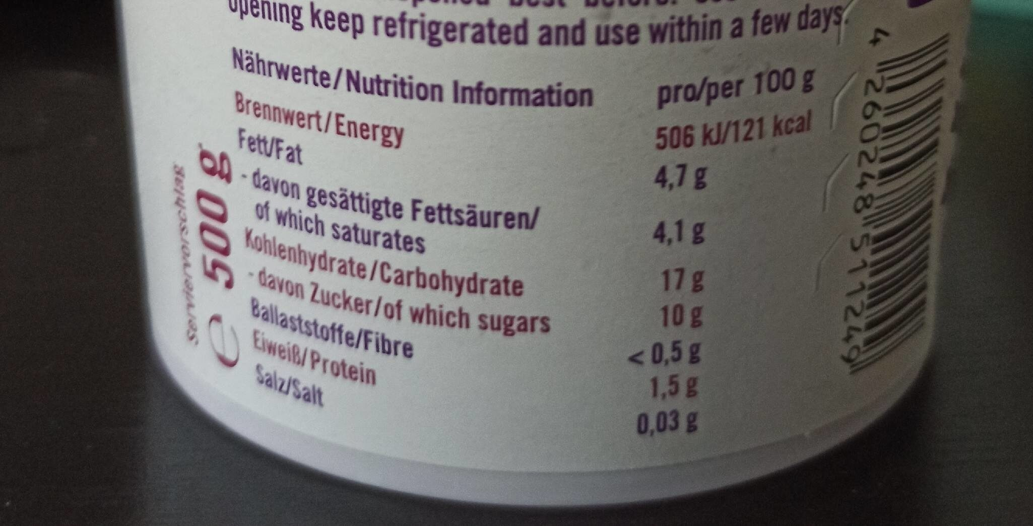 Luve - Nutrition facts - de