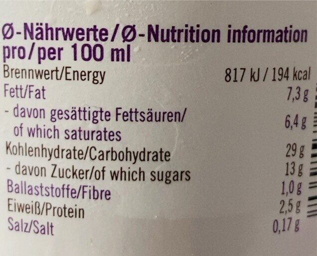 Luve Eis - Valori nutrizionali - de