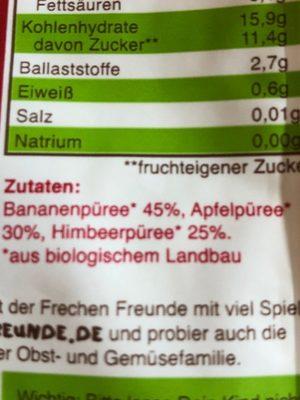 Freche Freunde Apfel, Banane & Himbeere - Ingredients - de