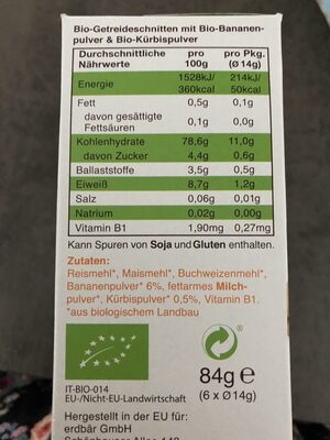 Knusper Schnitte Banane & Kürbis - Ingredients - fr