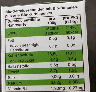 Knusper Schnitte Banane & Kürbis - Nutrition facts - fr
