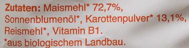 Knusper-Flippies Mais & Karotte - Ingredients