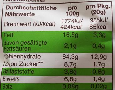 Knusper-Flippies Mais & Karotte - Nutrition facts
