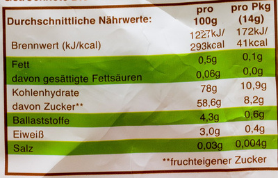 """""""Rosinchen"""" Fruchtmix - Nutrition facts - de"""