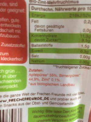 Bio Quetschies, Apfel, Birne & Zimt, Ab Dem 1. Jahr - Ingredients