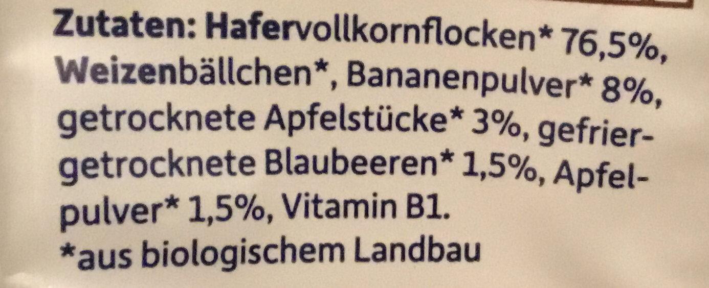 Erdbär Freches Müsli Banane, Apfel & Blaubeere - Zutaten - de