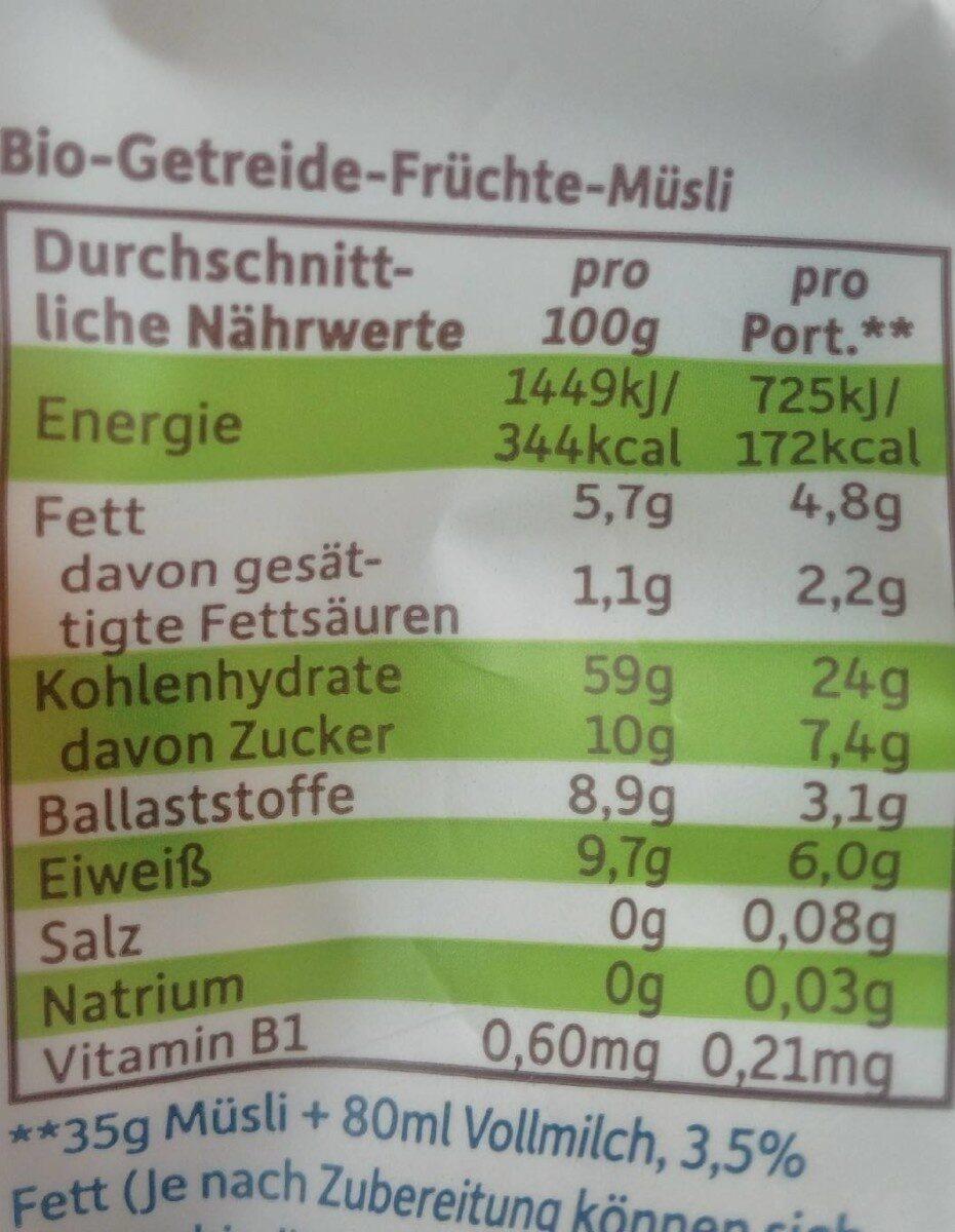 Erdbär Freches Müsli Banane, Apfel & Blaubeere - Nährwertangaben - de