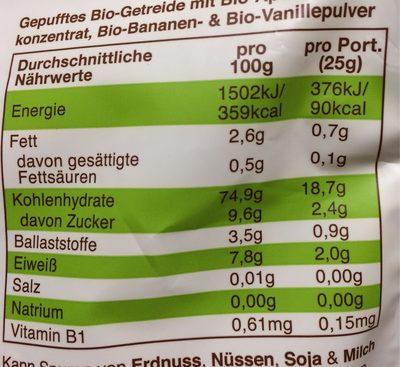 Freche Freunde Frühstücks sternchen Bana &van 125 G - Nutrition facts