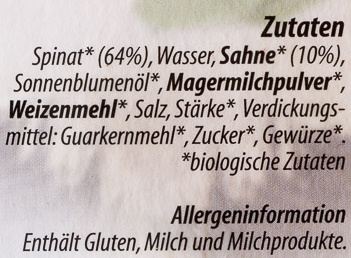 Bio Rahmspinat - Ingredients - de