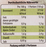 Bio Rahmspinat - Nutrition facts - de