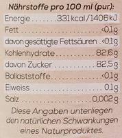 Hollala Sirup Pfefferminze - Informations nutritionnelles