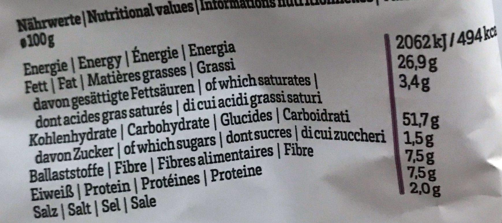Lisa's Bio Kesselchips Sauerrahm & Frühlingszwiebel - Informations nutritionnelles - fr