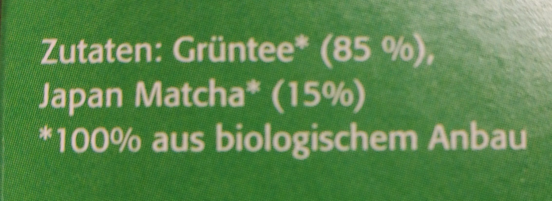 Grüntee &matcha - Ingredients