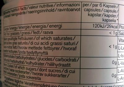 Power BCAA - Nährwertangaben