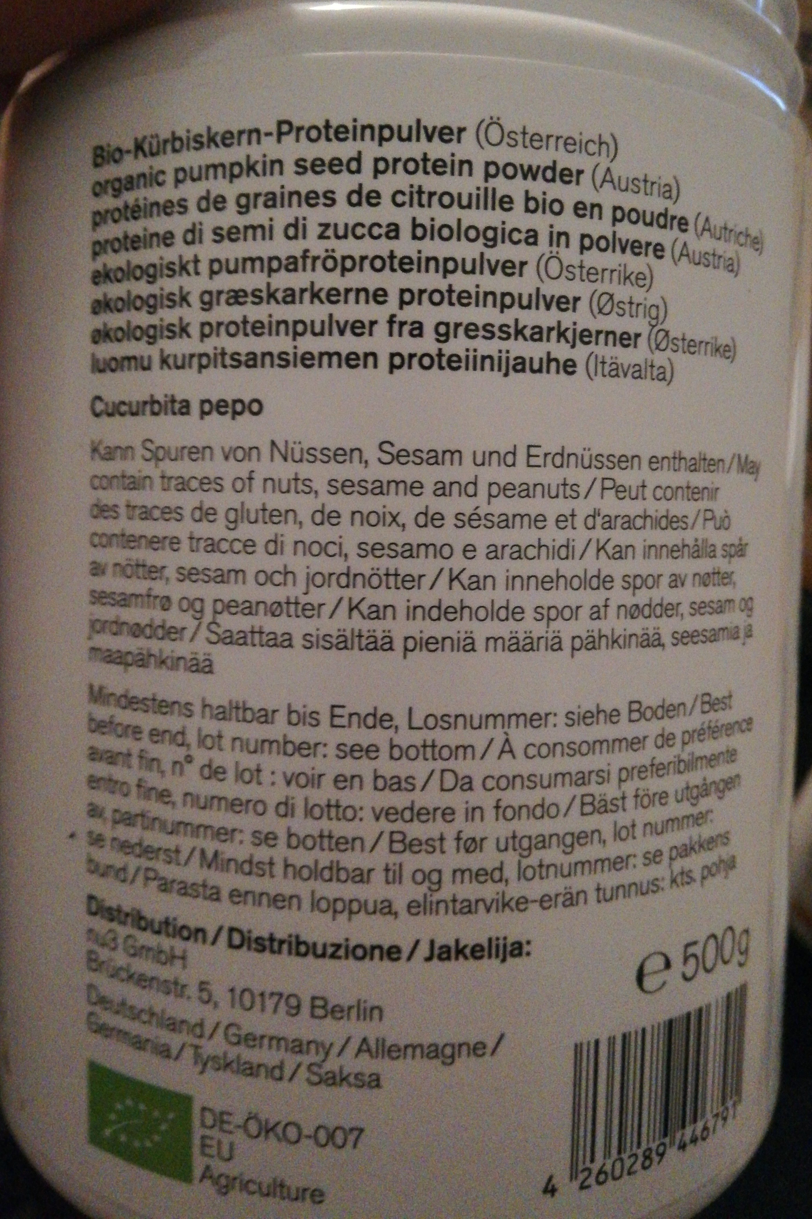 Nu3 økologisk Gresskarfrø Proteinpulver - Ingrédients - fr