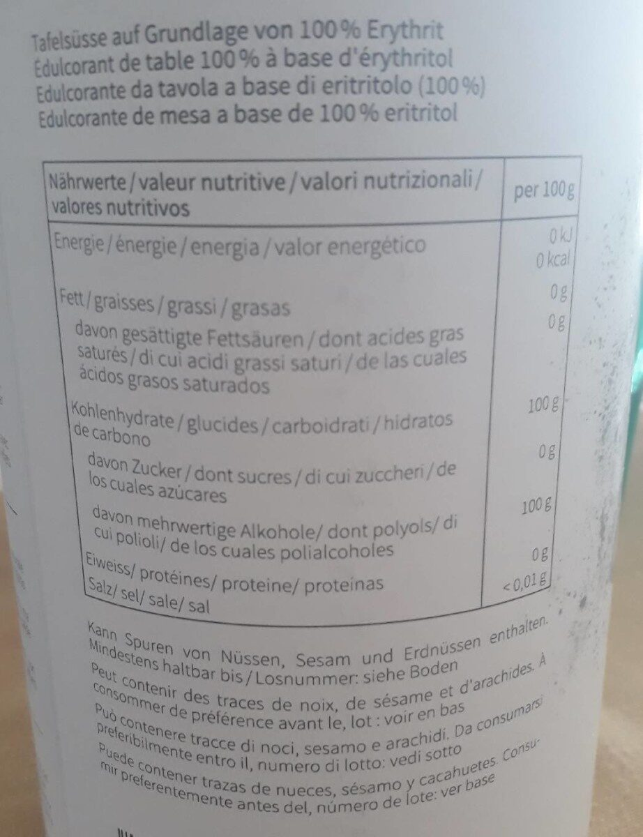 Erythrit - Valori nutrizionali - fr