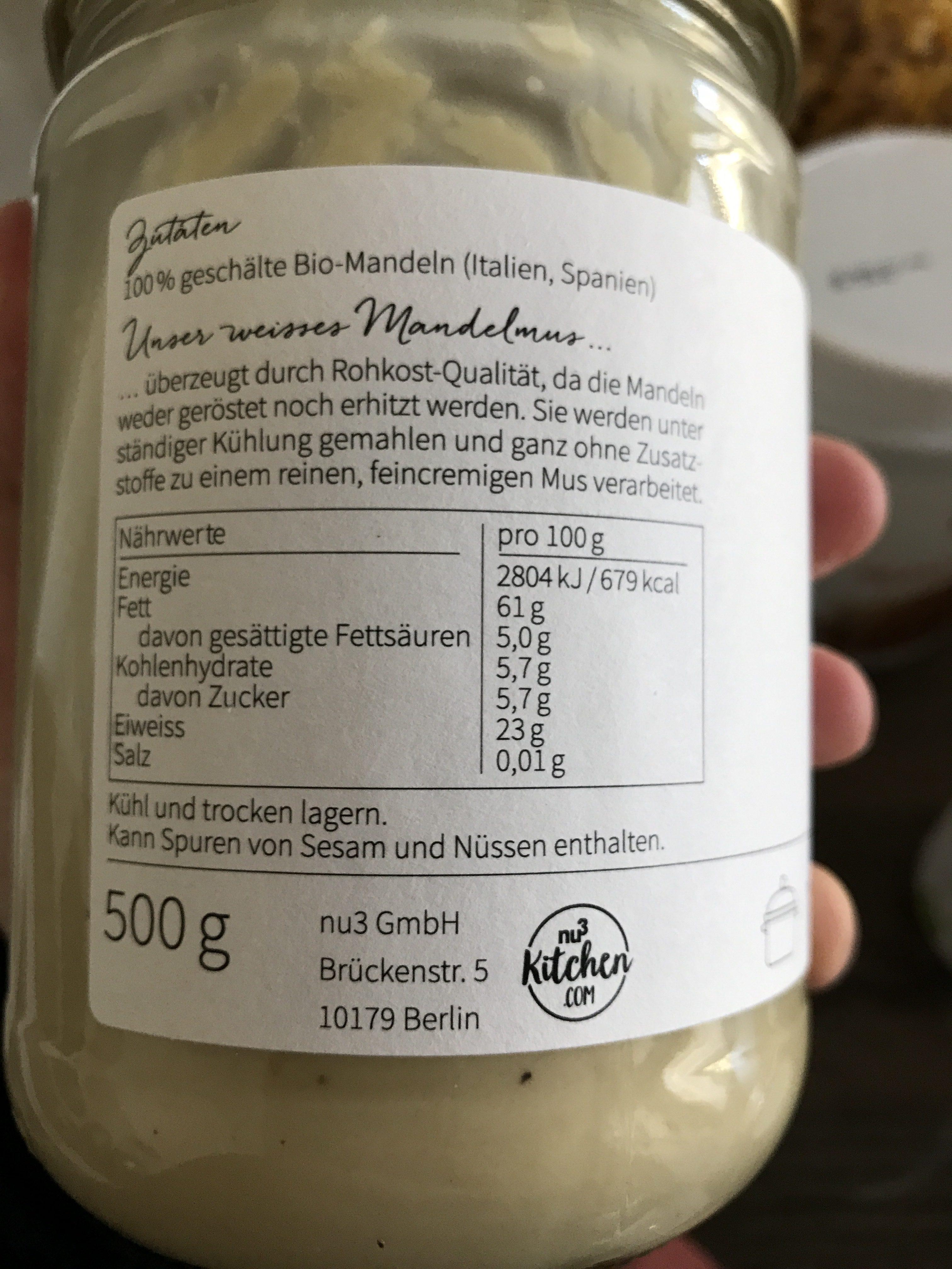 Nu3 Bio Mandelmus Weiß - Ingrédients - fr