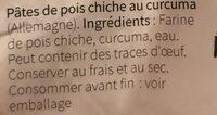 Nu3 Chick Pea Spirelli Med Gurkemeie - Ingredients