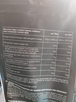 Vegan Protein K3 chocolate flavour - Informations nutritionnelles