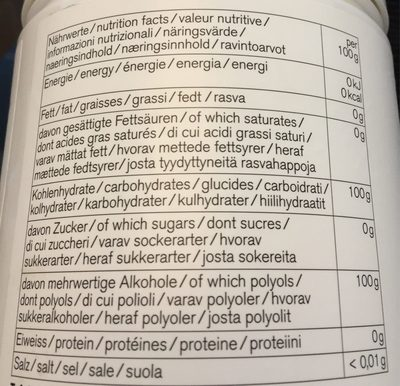 Nu3 Xylit, Grobkörnig - Nutrition facts