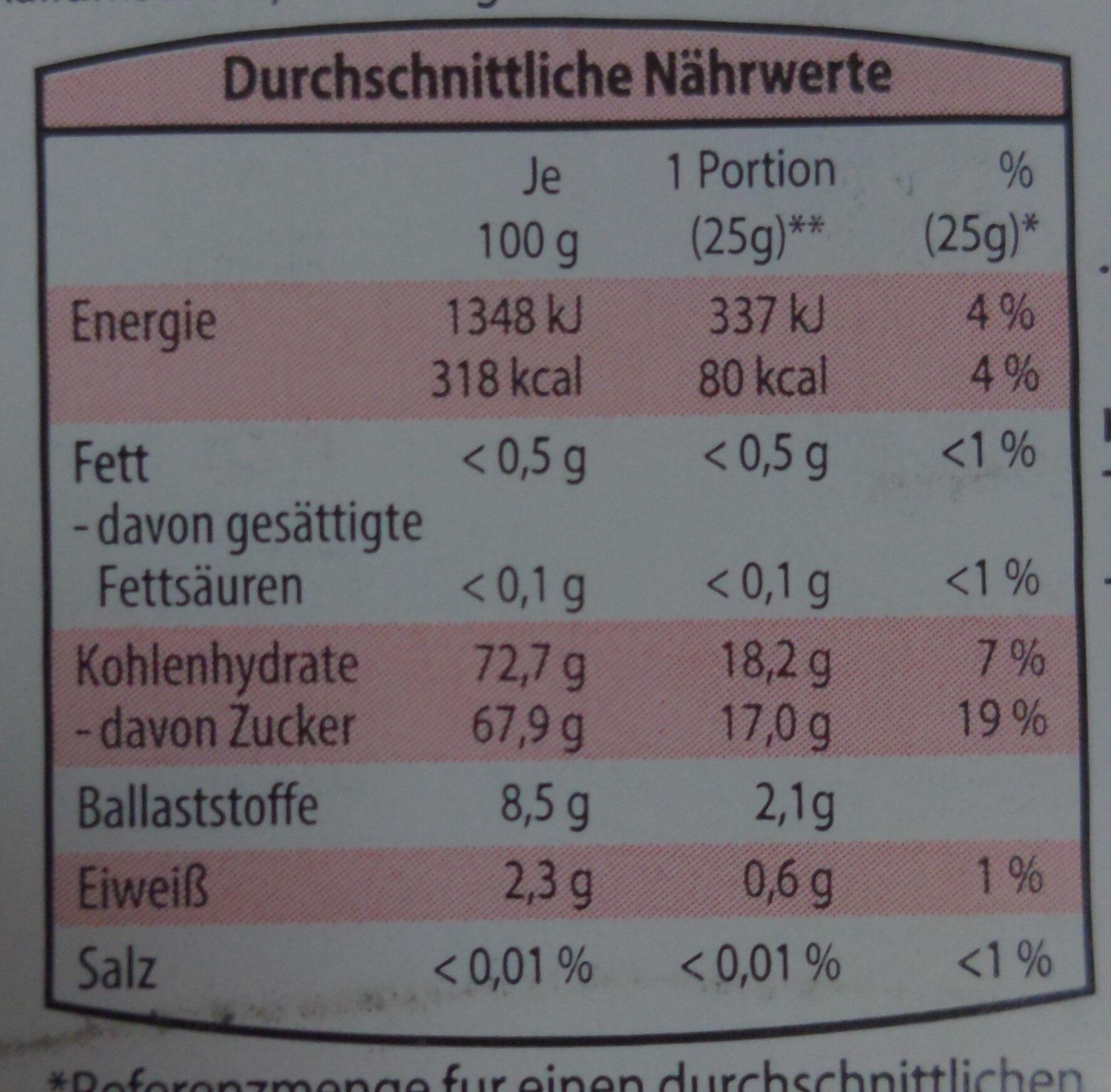 Datteln - Nutrition facts - de