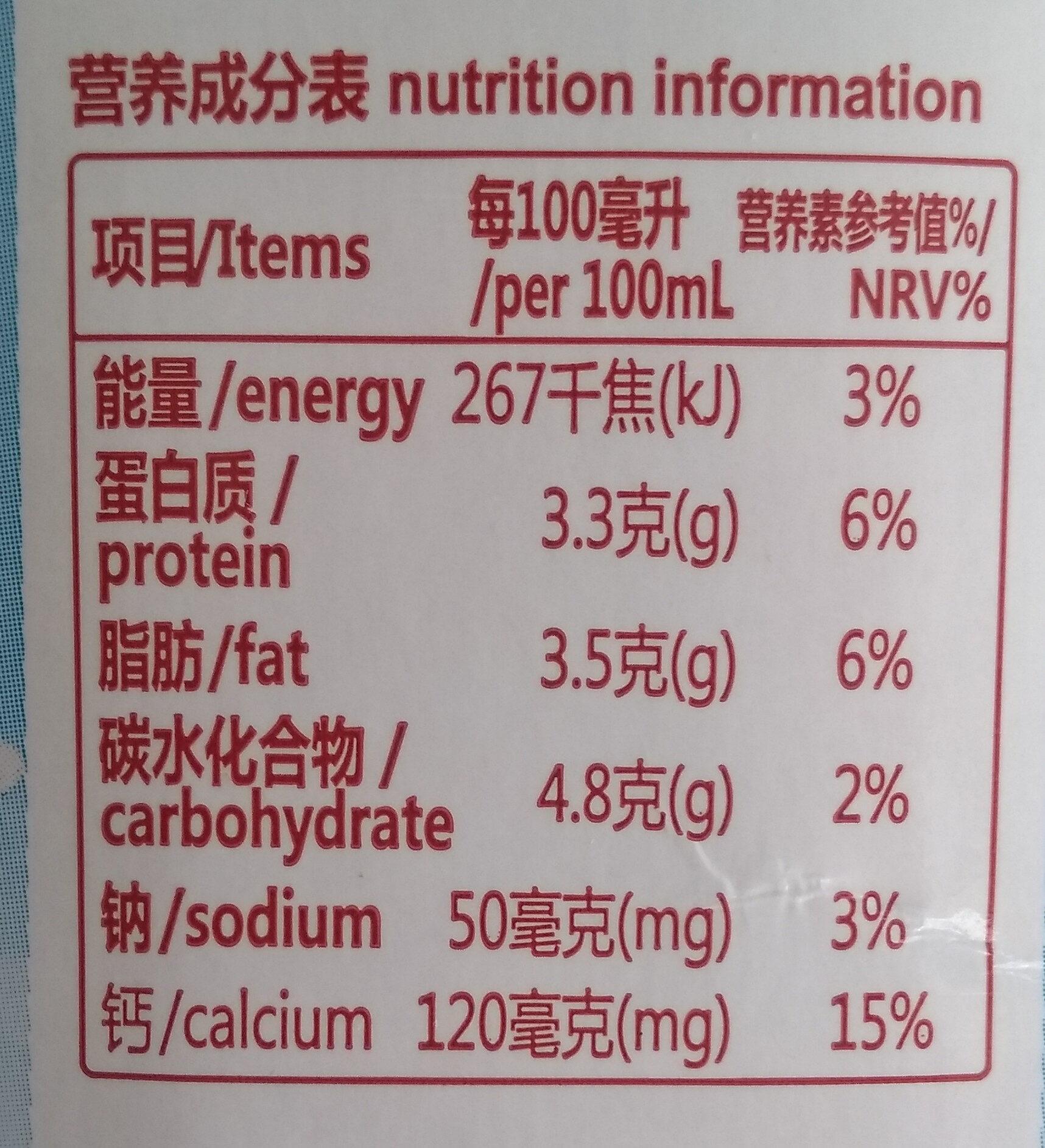 纯牛奶 - 营养成分 - zh