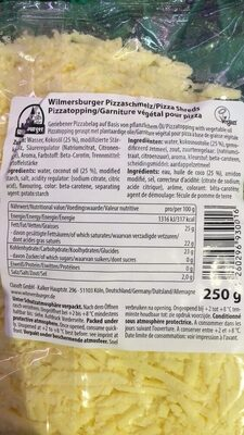 Wilmersburger Pizzaschmelz - Nutrition facts