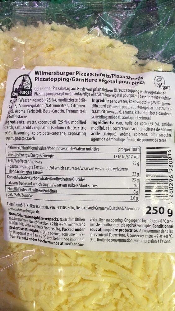 Wilmersburger Pizzaschmelz - Voedingswaarden - fr