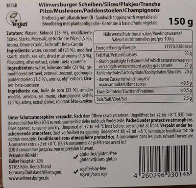 Fromage en tranche champignons - Voedingswaarden - de