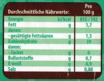 Taschki Vareniki mit Kartoffel-Pilz-Füllung - Nährwertangaben