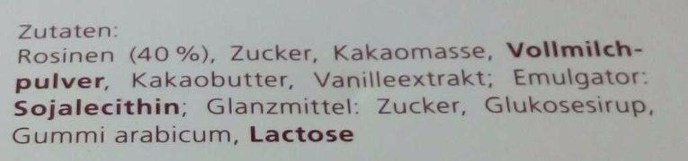 Rosinen in Vollmilchschokolade - Ingredients - de