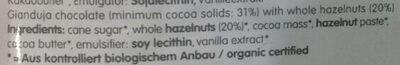 Whole Hazelnut Chocolate Bar - Ingrediënten - en