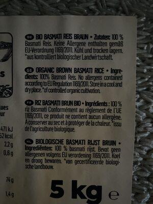 Bio Basmati Reis braun - Ingrédients - de