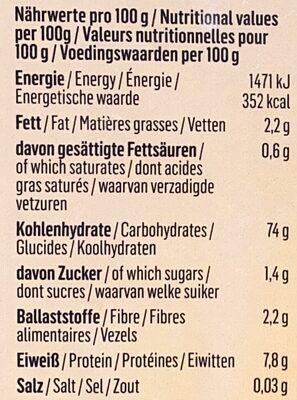 Bio Basmati Reis braun - Informations nutritionnelles - fr