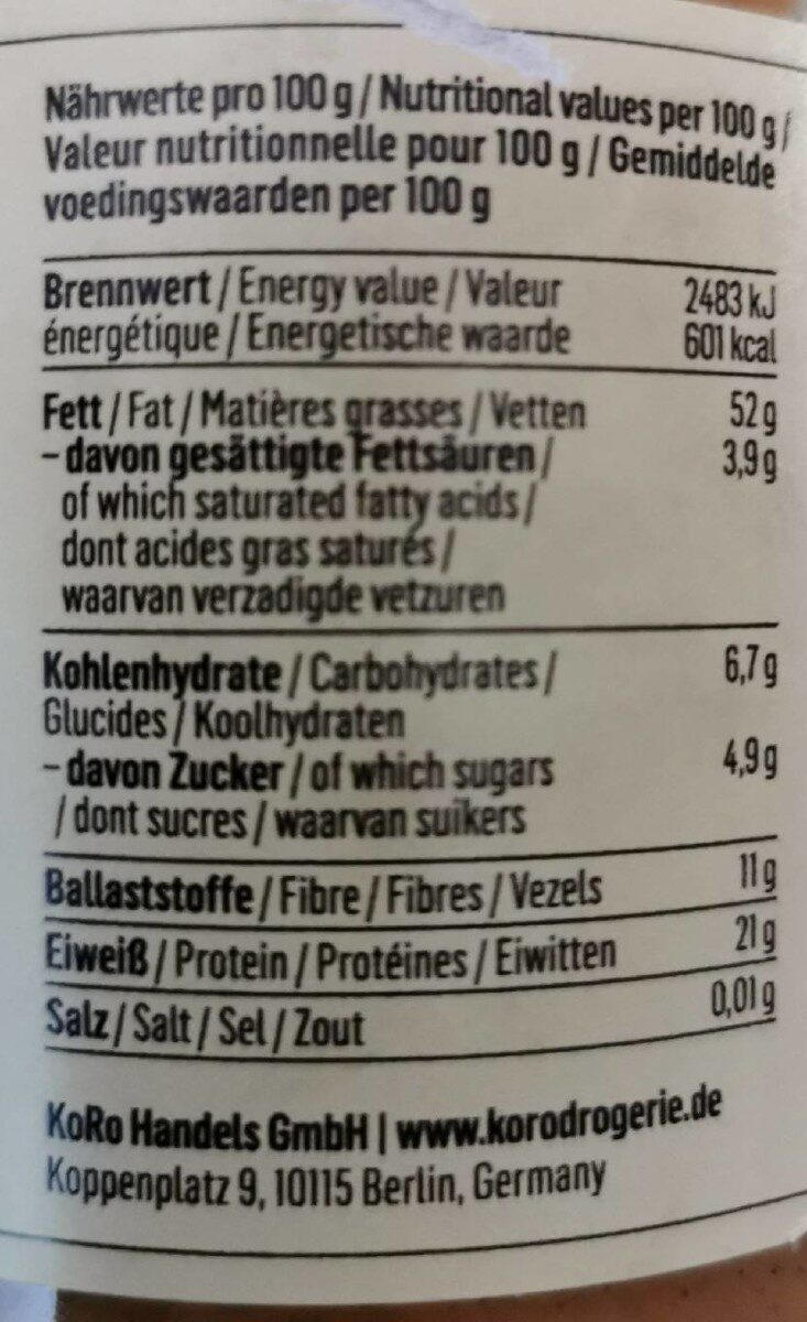 Braunes Mandelmus - Informations nutritionnelles - fr