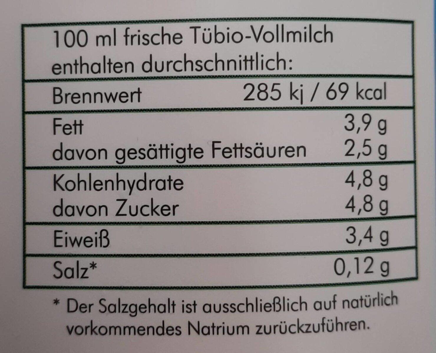 Frische Tübinger Vollmilch - Valori nutrizionali - de