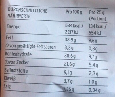 Süsskartoffel Chips - Valori nutrizionali - de