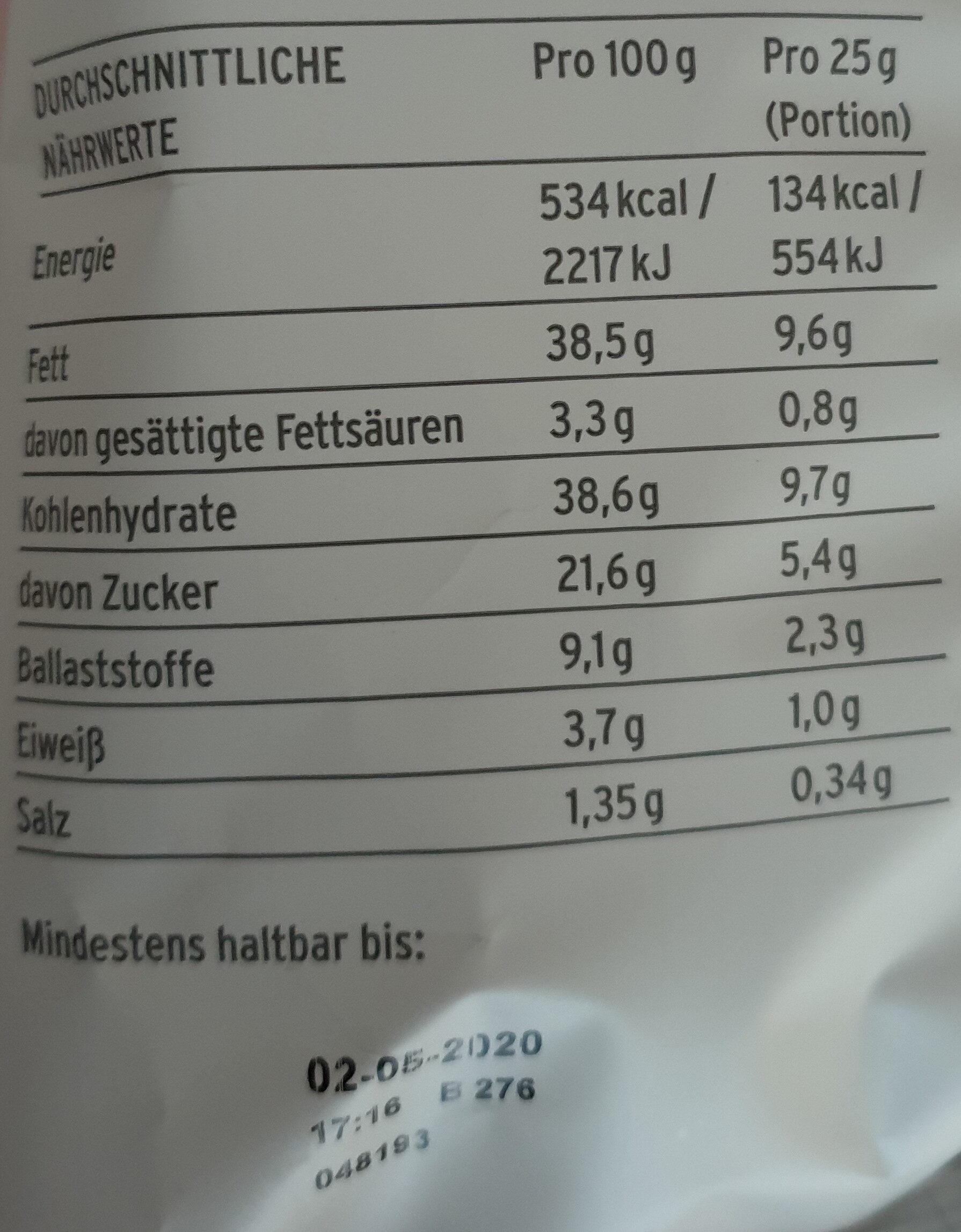 Süsskartoffelchips - Nutrition facts - de