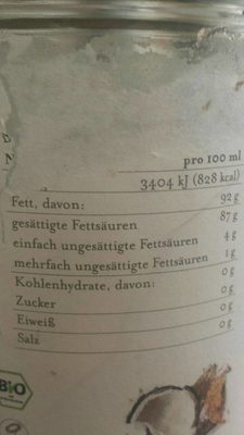 Bio Planète Kokosöl, Nativ, 1 LTR Glas - Nutrition facts - fr