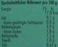 Brechbohnen - Informations nutritionnelles - de