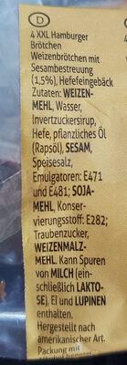 XXL Hamburger Buns, Mit Sesam - Ingrediënten - fr